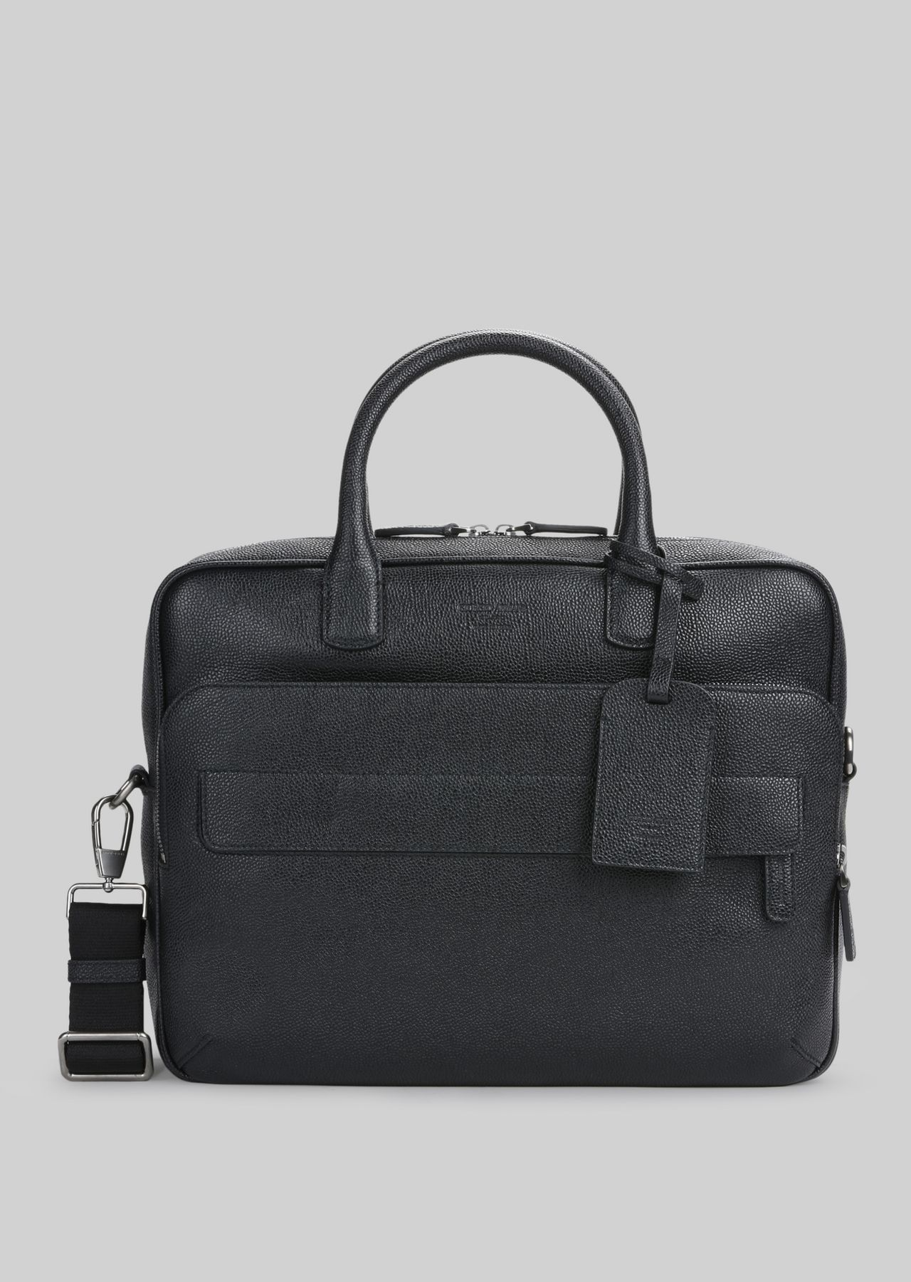 LEATHER BRIEFCASE WITH HANDLE : Briefcases Men by Armani - 0