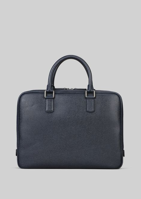 LEATHER BRIEFCASE WITH HANDLE : Briefcases Men by Armani - 4