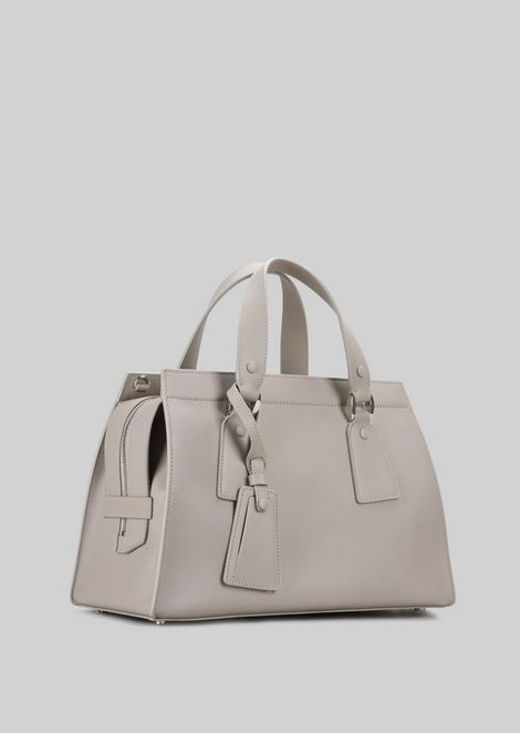 TOP HANDLE BAG IN VEGETABLE TANNED CALFSKIN: Top Handles Women by Armani - 3