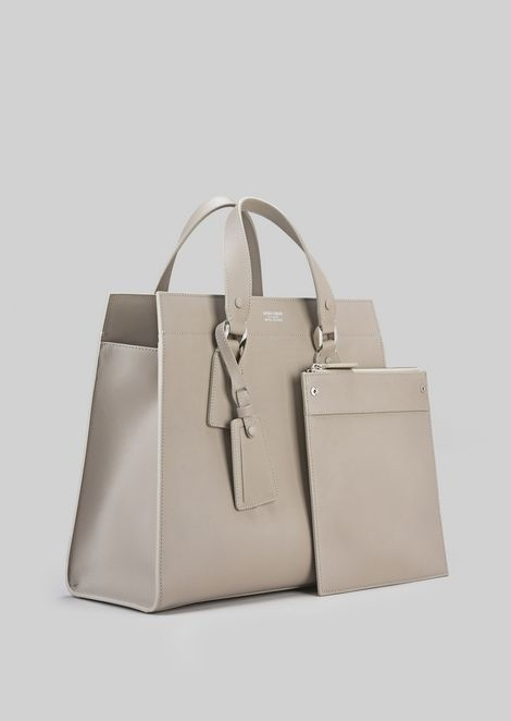 TOTE BAG IN VEGETABLE TANNED CALFSKIN: Shoppers Women by Armani - 3