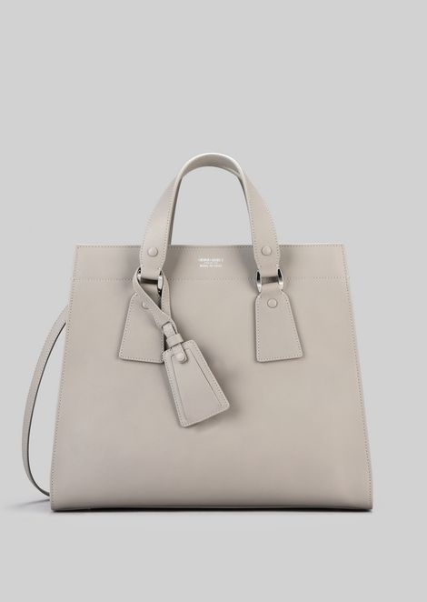 TOTE BAG IN VEGETABLE TANNED CALFSKIN: Shoppers Women by Armani - 1