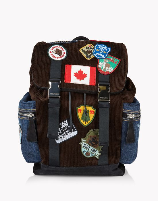 corduroy patch donald backpack  sacs Homme Dsquared2
