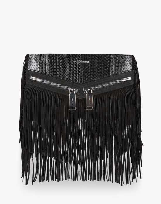 fringed leather rock clutch bags Woman Dsquared2