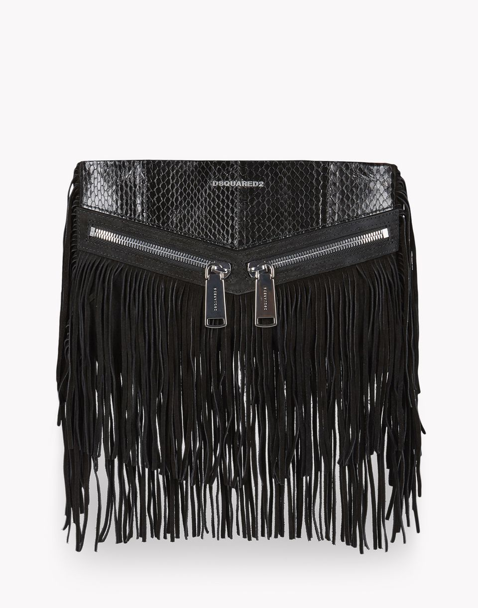 fringed leather rock clutch handbags Woman Dsquared2
