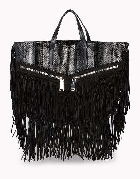 fringed leather rock tote handbags Woman Dsquared2