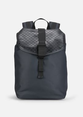 Armani Backpacks Men all-over logo print cordura and leather backpack