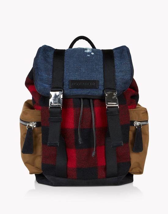 denim check donald backpack sacs Homme Dsquared2