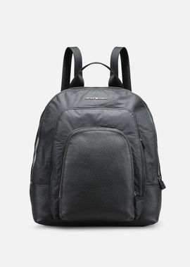 Armani Backpacks Men tumbled leather and nylon backpack with 3 pockets