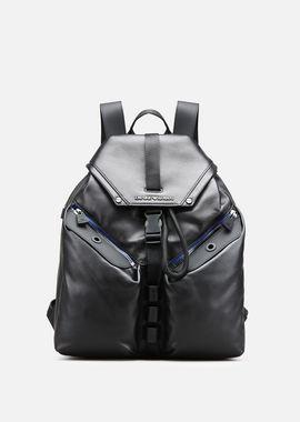 Armani Backpacks Men rubber-effect nappa backpack