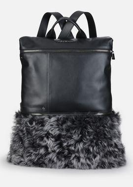 Armani Backpacks Men mottled sheepskin and smooth leather backpack