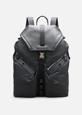 Armani Backpacks Men tumbled leather and nylon backpack