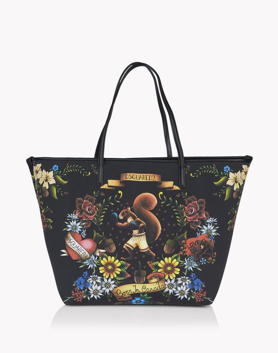 tattoo print alberta tote bags Woman Dsquared2