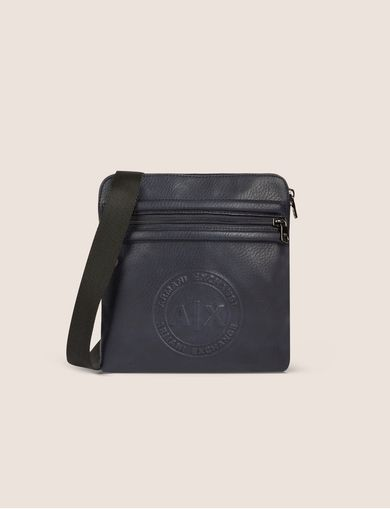 아르마니 익스체인지 Armani Exchange FAUX LEATHER CIRCLE LOGO MINI CROSSBODY,Navy Blue