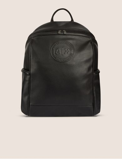 아르마니 익스체인지 Armani Exchange FAUX LEATHER CIRCLE LOGO BACKPACK,Black