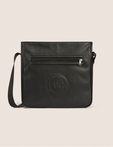 아르마니 익스체인지 Armani Exchange FAUX LEATHER CIRCLE LOGO CROSSBODY,Black
