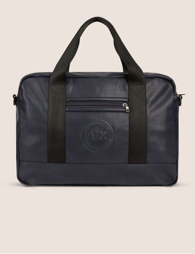 아르마니 익스체인지 Armani Exchange FAUX LEATHER CIRCLE LOGO BRIEF BAG,Navy Blue
