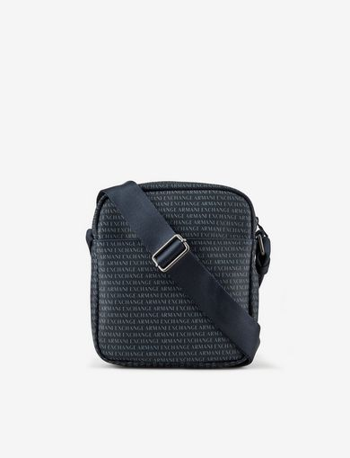 아르마니 익스체인지 Armani Exchange ALLOVER LOGO PRINT CROSSBODY,Navy Blue