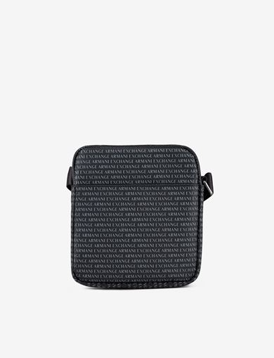 아르마니 익스체인지 Armani Exchange ALLOVER LOGO PRINT CROSSBODY,Black