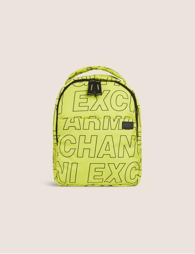 아르마니 익스체인지 Armani Exchange ALLOVER LOGO PUFFY BACKPACK,Faded Lime