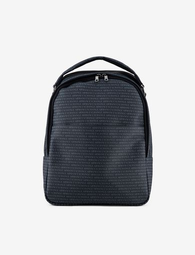 아르마니 익스체인지 백팩 네이비 블루 Armani Exchange ALLOVER LOGO PRINT BACKPACK,Navy Blue