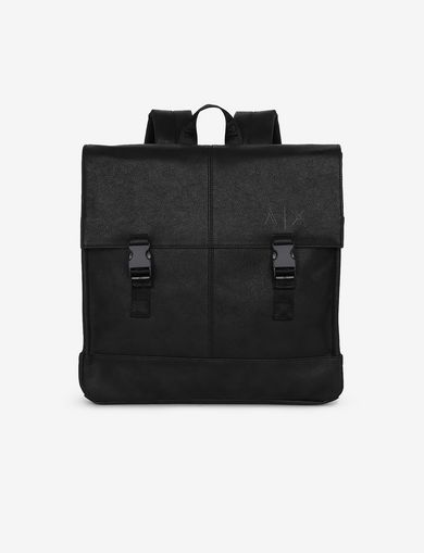 아르마니 익스체인지 Armani Exchange PEBBLED BUCKLE BACKPACK,Black