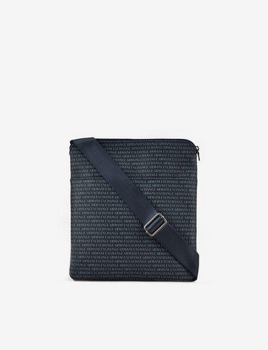 아르마니 익스체인지 메신저백 Armani Exchange FABRIC SHOULDER BAG WITH GRAFFITI LOGO,Navy Blue