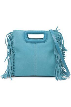 마쥬 MAJE Fringed suede shoulder bag,Turquoise
