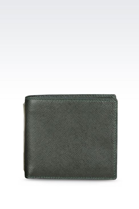 BI-FOLD WALLET IN SAFFIANO CALFSKIN WITH COIN PURSE: Wallets Men by Armani - 1