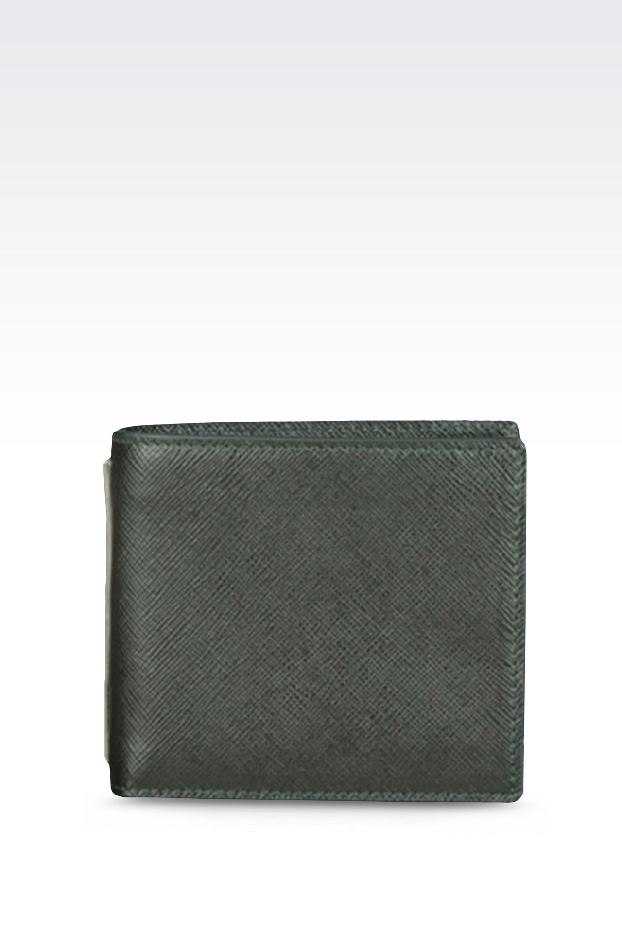 BI-FOLD WALLET IN SAFFIANO CALFSKIN WITH COIN PURSE: Wallets Men by Armani - 0