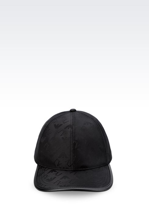 BASEBALL CAP IN LOGOED FABRIC: Hats Men by Armani - 1