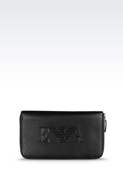 ZIP AROUND LOGOED LEATHER WALLET: Wallets Men by Armani - 1