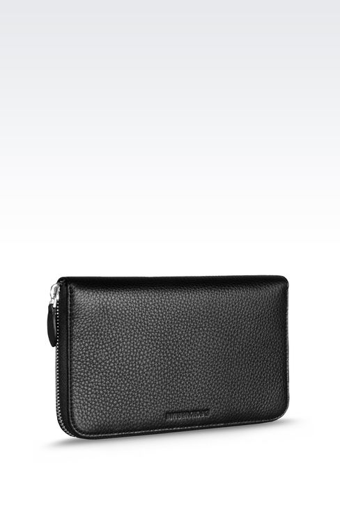 ZIP AROUND LOGOED LEATHER WALLET: Wallets Men by Armani - 2