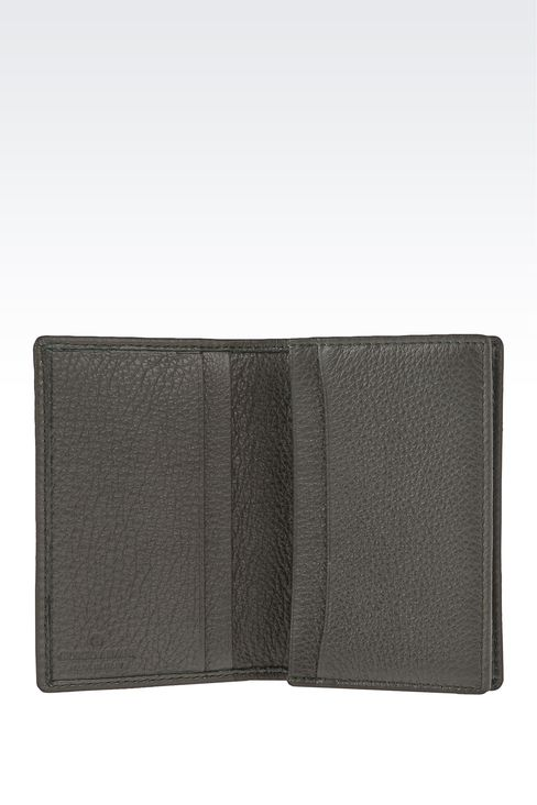 BUSINESS CARD HOLDER IN TUMBLED CALFSKIN WITH LOGO: Card holders Men by Armani - 3