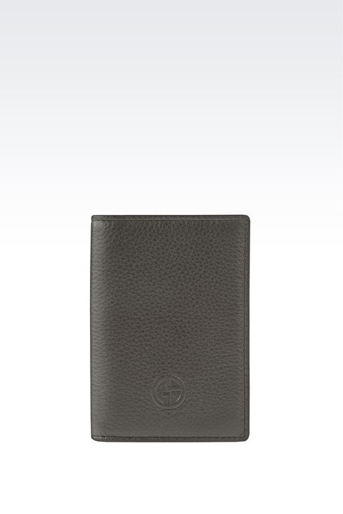 BUSINESS CARD HOLDER IN TUMBLED CALFSKIN WITH LOGO: Card holders Men by Armani - 1