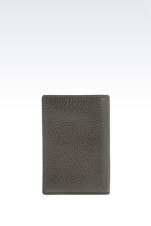 BUSINESS CARD HOLDER IN TUMBLED CALFSKIN WITH LOGO: Card holders Men by Armani - 2