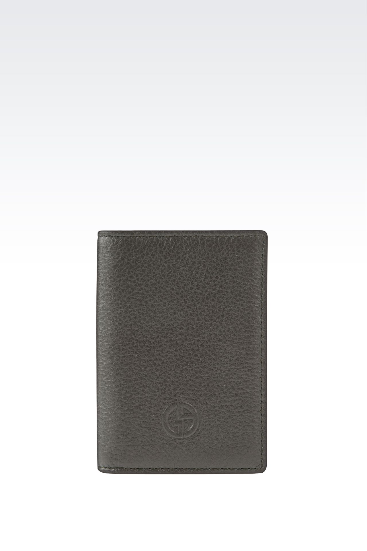 BUSINESS CARD HOLDER IN TUMBLED CALFSKIN WITH LOGO: Card holders Men by Armani - 0