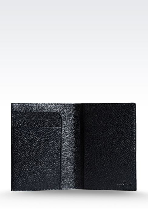 PASSPORT HOLDER IN TUMBLED CALFSKIN: Document holders Men by Armani - 3