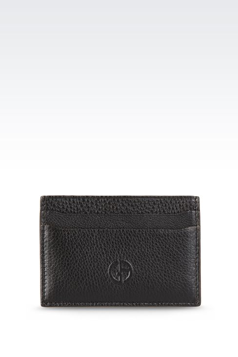 CARD HOLDER IN TUMBLED LEATHER: Card holders Men by Armani - 1
