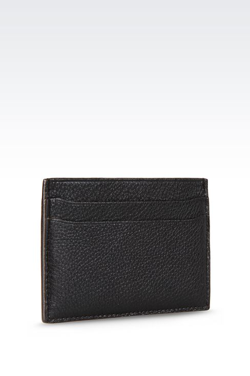 CARD HOLDER IN TUMBLED LEATHER: Card holders Men by Armani - 2