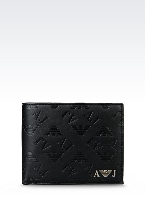 ALL OVER LOGO BILLFOLD WALLET WITH COIN POCKET: Wallets Men by Armani - 1
