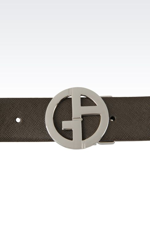 REVERSIBLE LEATHER BELT WITH LOGO: Leather belts Men by Armani - 3