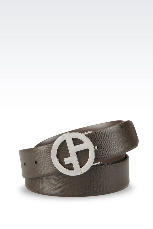 REVERSIBLE LEATHER BELT WITH LOGO: Leather belts Men by Armani - 1