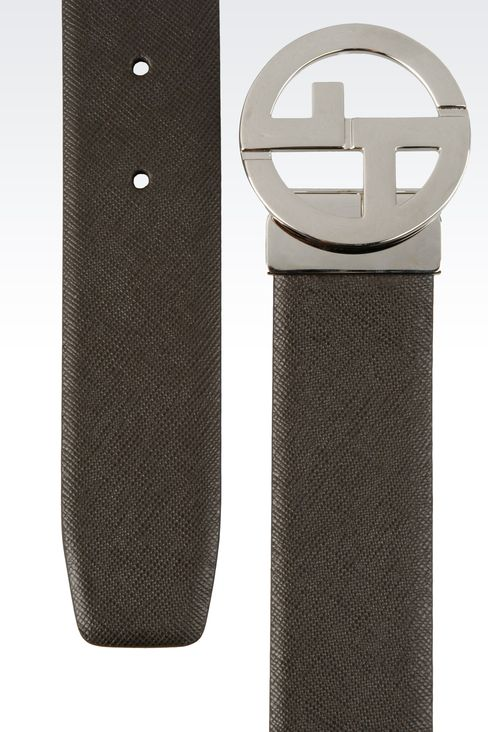 REVERSIBLE LEATHER BELT WITH LOGO: Leather belts Men by Armani - 2