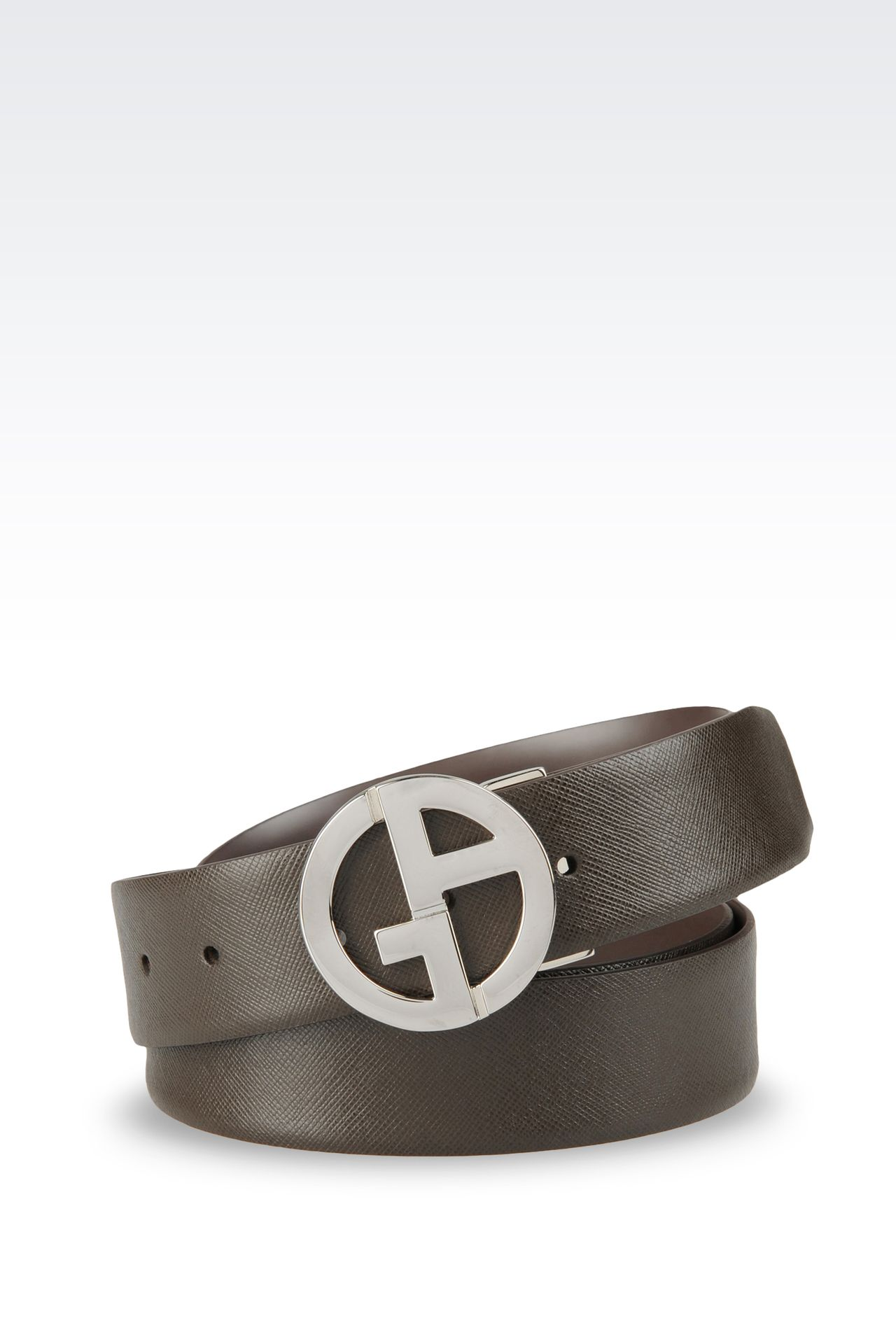 REVERSIBLE LEATHER BELT WITH LOGO: Leather belts Men by Armani - 0