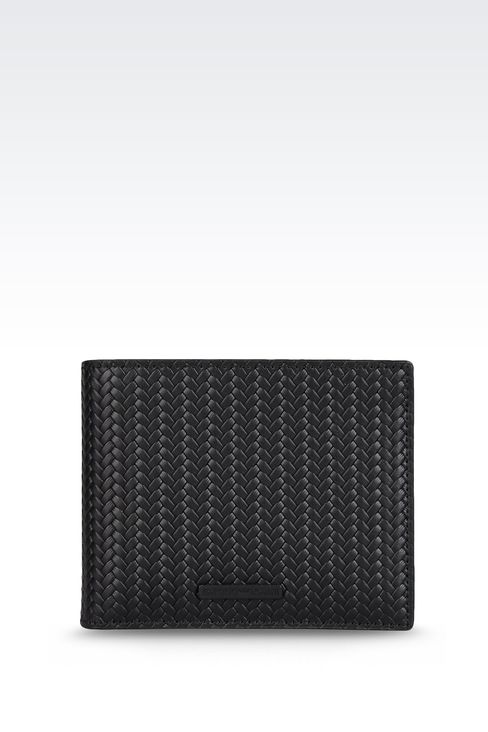 WALLET IN WOVEN CALFSKIN WITH LOGO: Wallets Men by Armani - 1