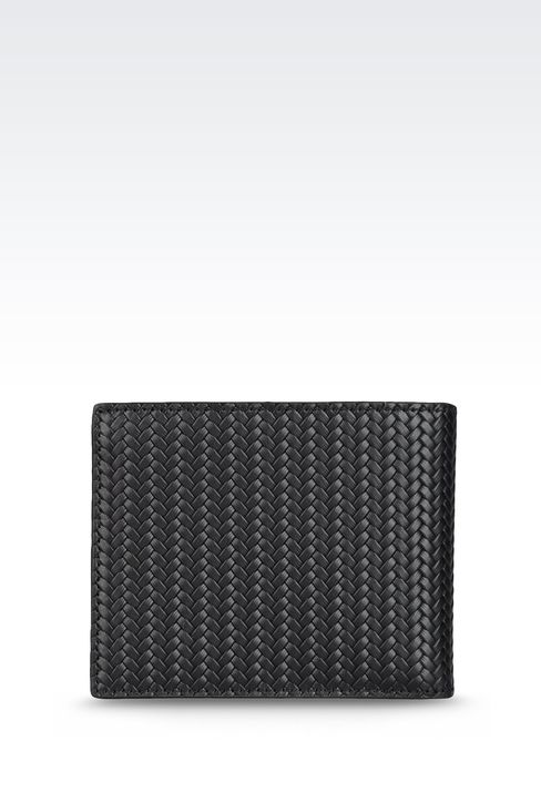 WALLET IN WOVEN CALFSKIN WITH LOGO: Wallets Men by Armani - 2
