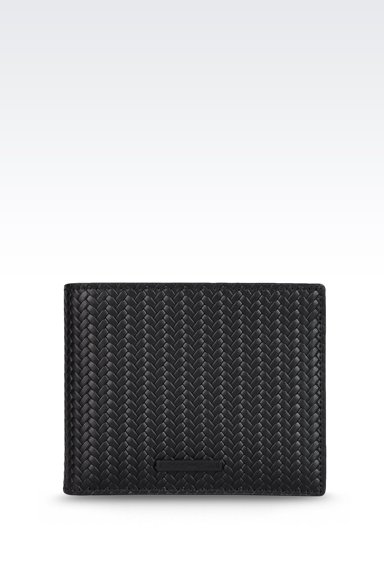 WALLET IN WOVEN CALFSKIN WITH LOGO: Wallets Men by Armani - 0