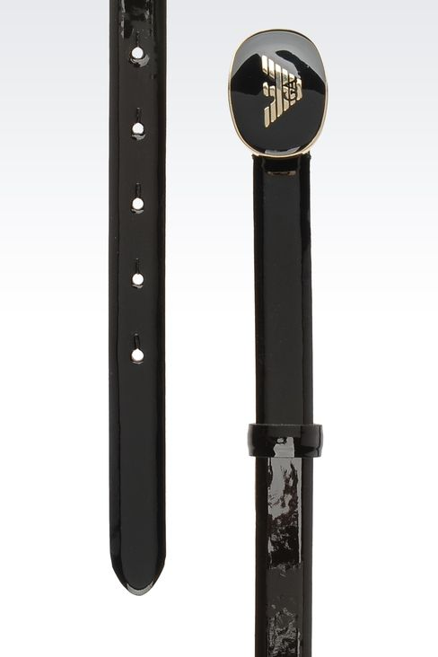belt with patent effect and logoed buckle: Textile belts Women by Armani - 2