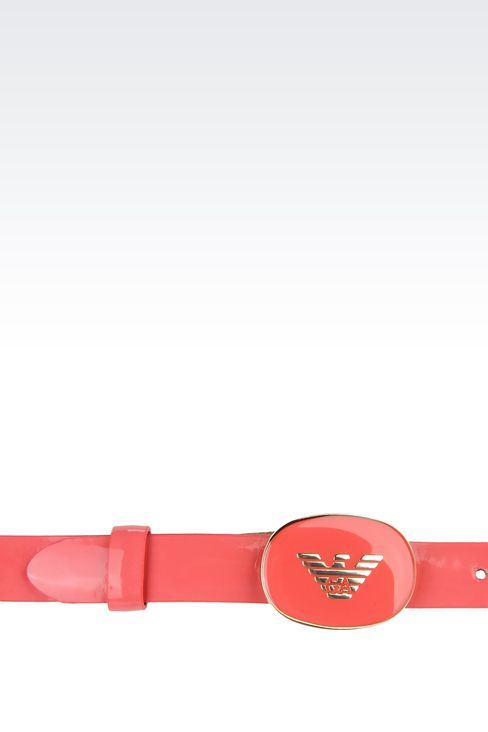belt with patent effect and logoed buckle: Textile belts Women by Armani - 3