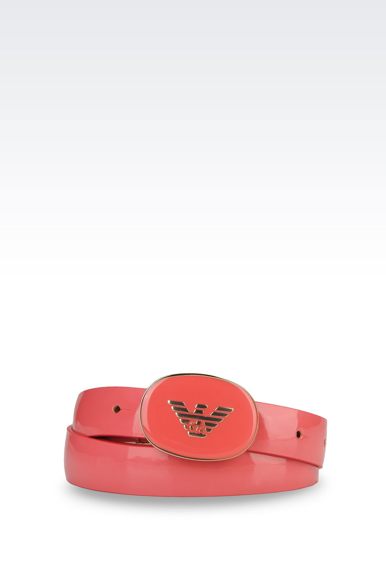 belt with patent effect and logoed buckle: Textile belts Women by Armani - 0